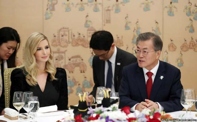Ivanka Trump Meets with South Korean  President, Briefly Discusses North Korea