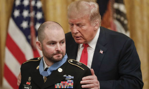 Trump Awards Medal to Soldier  for Heroic Action in Afghanistan