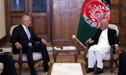 Ghani, Khalilzad Discuss  Next Steps in Peace Process